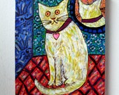 "The cat of Marcel Proust - CAT ART - Original 8""X10"" Acrylic on Canvas"