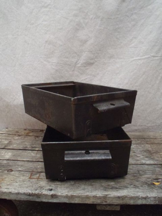 Industrial Stacking Containers : Vintage industrial stacking bins charcoal grey lyon mfg