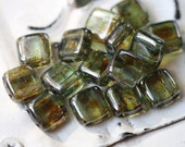 PINE TIDBITS .. 20 Premium Picasso Glass Czech Square Beads 6mm (2437-20)