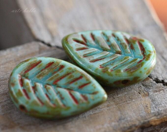 BLUE ASPEN .. 6 Picasso Czech Glass Leaf Beads 16x12mm (3222-6)