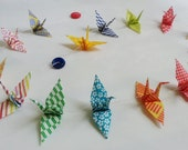 birds on a wire - garland - banner of 15 mini origami cranes