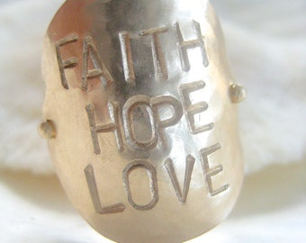 Faith Hope Love Ring - Stamped on Gold
