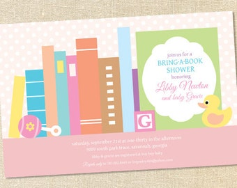 Sweet Wishes Stock the Library Books Baby Shower Invitations GIRL - PRINTED - Digital File Also Available