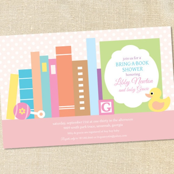 Sweet Wishes Stock The Library Books Baby Shower Invitations Girl