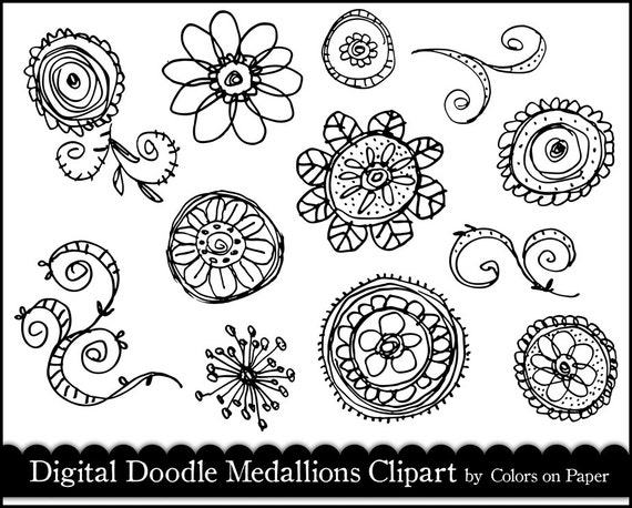 Digital Doodle Medallions Clipart, Brushes & Stamps. Instant Download.  Personal and commercial use.