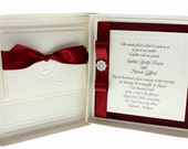 Dainty Bow - Boxed Wedding Invitations, Special listing for Dorelis in Cream and Purple.