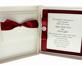 Dainty Bow - Wedding Invitations, Bordeaux, Burgundy, Wine, Champagne Ivory  - Modern Glamorous Boxed Invitation  -  Set of 50