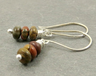 Jasper Earrings, Wire Wrapped Earrings, Earthy Stone Earrings, Eco Friendly Jewelry - Sterling Silver Gifts for Her