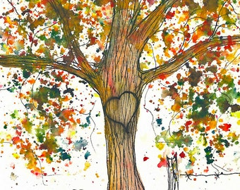Sweet Autumn, Sweetheart Tree, Personalized Original watercolor painting, 5 x 7, add initials