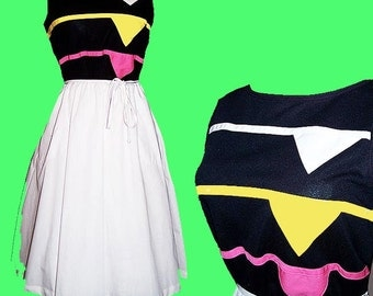 Vintage Like Totally 80s rainbow neon triangle applique sun dress