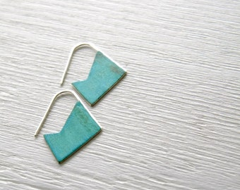 Verdigris Geometric Earrings - handmade brass sterling silver dangle, tribal, geometric, blue green verdigris patina neon