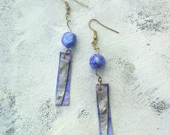 Lilac dangle earrings upcycled palette in summer colors