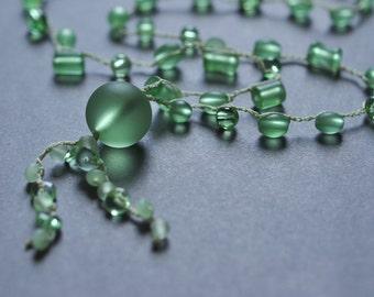 Green Beachglass crocheted long tunic necklace