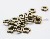 30pcs Antique Brass Tone Base Metal Spacers- Beads Frame - Ring 10mm - innner size 5mm  (15429Y-P-225B)
