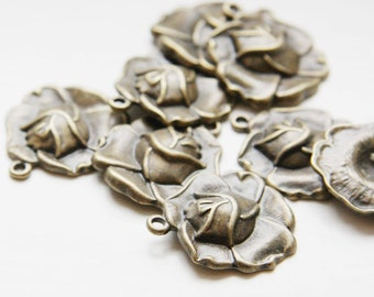 8pcs Antique Brass Tone Base Metal Charms-Rose 22x23mm (E-466)