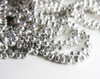 100pcs Czech Glass Tear Drops-Silver 6x4mm (6427000) (B-16-21)