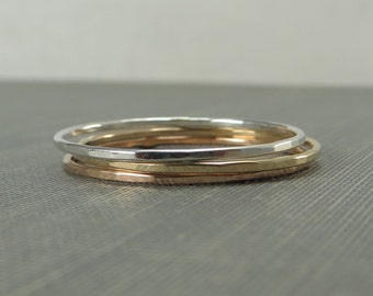 Thin Sterling Silver, Yellow Gold & Rose Gold Stackable Rings - Set of 3, 6 or 9 Rings - Super Slim 1mm - Simple Modern Minimal Rings