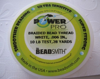 "Power Pro Beading thread -  White .006"", 10 lb test-28 yard spool"
