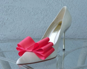 Coral Satin Ribbon Bow Shoe Clips Set Of Two, More Colors Available