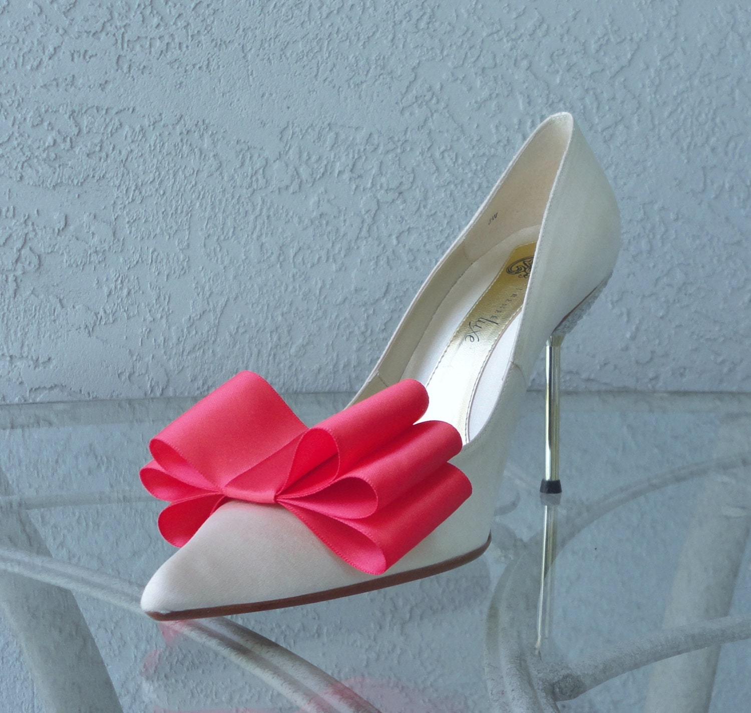 Coral Satin Ribbon Bow Shoe Clips Set Of Two More Colors
