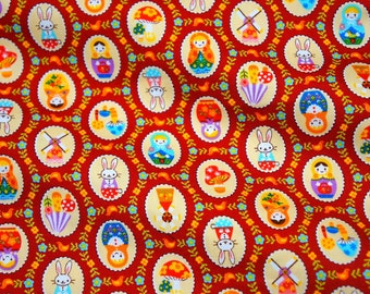 Matryoshka Russian dolls  Animal Matryoshka and Mushrom print fabric nc52
