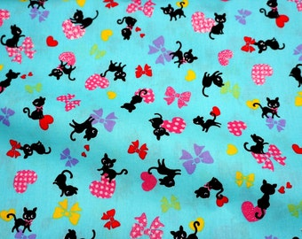 Cat heart and bow print  50 cm by 106 or 19.6 by 42 inches Half meter nc25