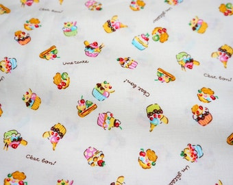 Cupcake print Japanese fabric  (lb1B)