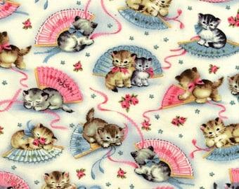 FAT QUARTER- Smitten Kittens Vintage Style Print Fabric Michael Miller CX4059-CREM