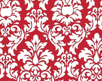 Two (2) Yards - Dandy Damask Rouge Red and White Fabric By Michael Miller CX3095-ROUG-D