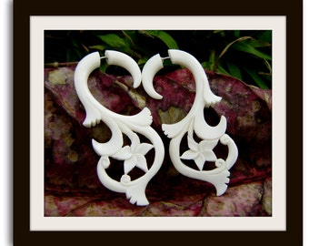 Fake Gauge Earrings-Organic White Bone Tribal Expanders