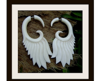 Fake Gauge Earrings - Hand made , Bone,tribal style,organic,fake piercings,naturally
