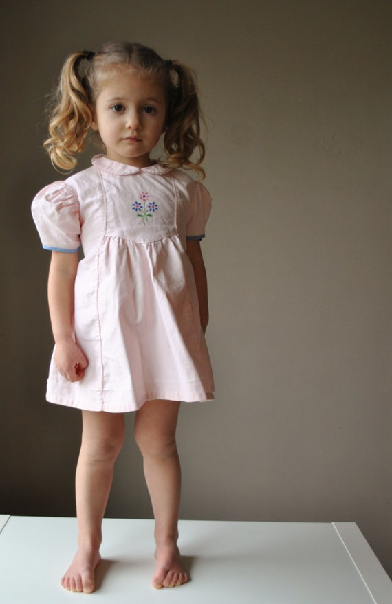 1940s Soft Pink Day dress, size 12-24 months