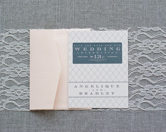 Vintage Wedding Save the Date, Blush Pink Weddig, Gray Wedding, Grey Wedding, Formal Save the Date - Angelique and Bradley