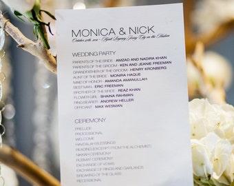 Simple Wedding Program,  Modern Wedding Ceremony Program - Monica and Nick