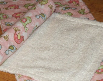 Burp Cloths - Set of 2   Pink Birdie print