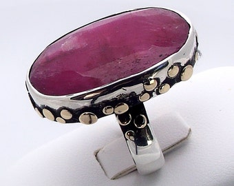 Sterling silver ring with ruby (sterling and 9ct yellow gold ruby ring)