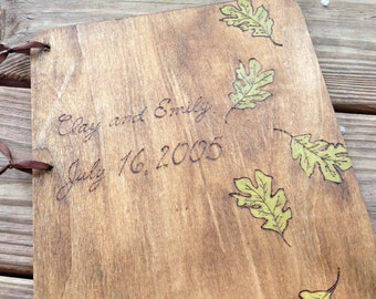 Custom Wedding Guest Book - Oak leaves