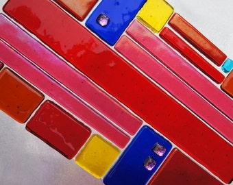 Suncatcher Red Blue Yellow, Home Decor, Garden Art, Outdoor Decor, Fused Glass Art