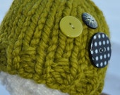 Newborn Hat Prop - Chunky Knit Baby Photo Hat with Buttons - Lemongrass - Pear - Green