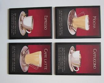 Coffee Recipe Kitchen Wall Decor Plaques, Mocha Cappuccino Espresso Latte, 4pc set dark red