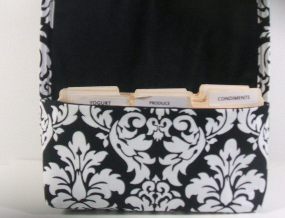 Coupon Holder or Purse Organizer Fabric Black and White Classic Damask Black Lining