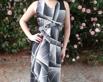 Vintage 60's Maxi Dress. Summer Lounge Dress. Black White and Grey. L / XL