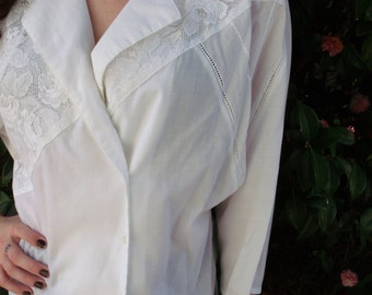 Vintage White Cotton Shirt. 80's New Wave Button Down Shirt. Lace Boho Shirt L