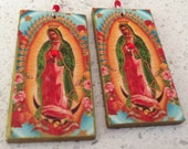 Our Lady of Guadalupe Decoupage Earrings - floral