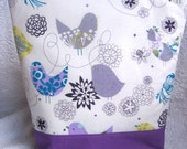 Insulated Lunch Bag Tote Large Zip Little Purple Bird eco friendly by BonTonsGifts on Etsy