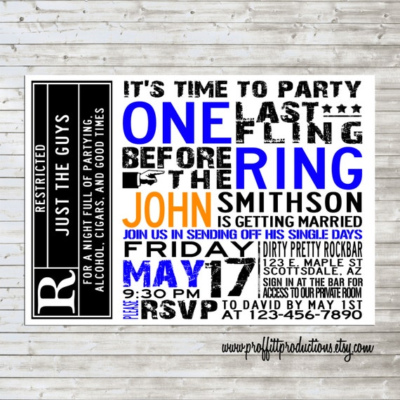 Bachelors Rock custom concert poster style party or shower invitation - digital file