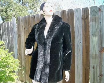 SALE! Vintage Midnight Black Faux Fur Coat Fake Fur