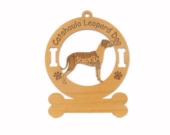 2078 Catahoula Leopard Dog Standing Personalized Wood Ornament