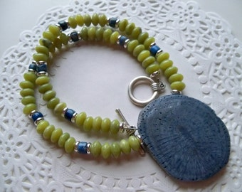BLUE FOSSIL CORAL Pendant/Coral Pendant/Peridot Beaded Necklace