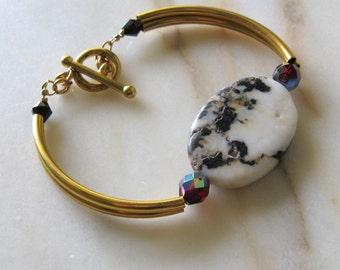 Gold Stone Bracelet Ruby Accent Mexican Zebra Jasper Gold Toggle Clasp